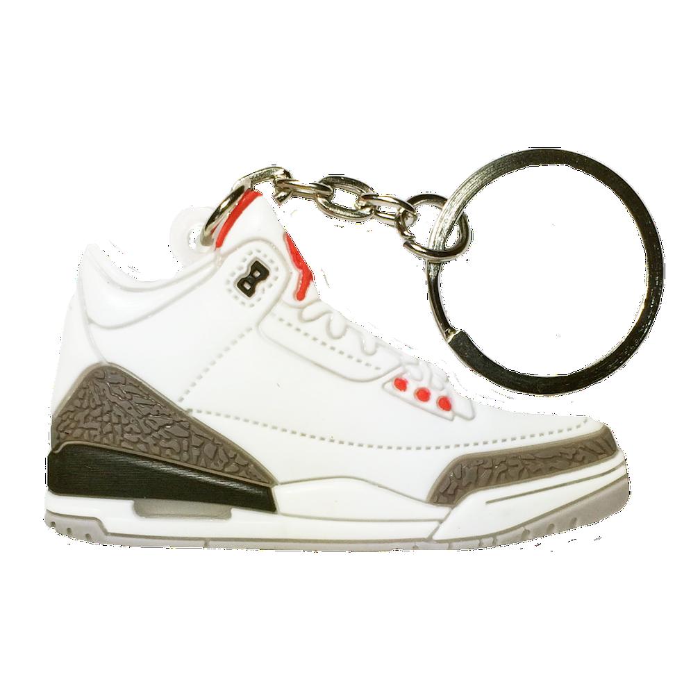 """Jordan 3 """"White Cement"""" Keychain"""
