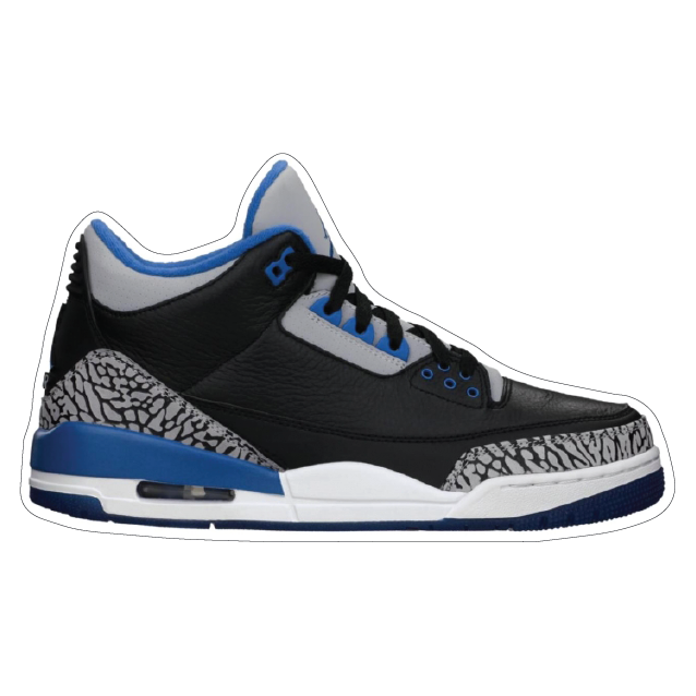 "Jordan 3 ""Sport Blue"" Shoe Box Sticker"