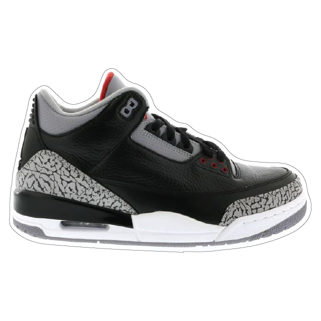 "Jordan 3 ""Black Cement"" Shoe Box Sticker"