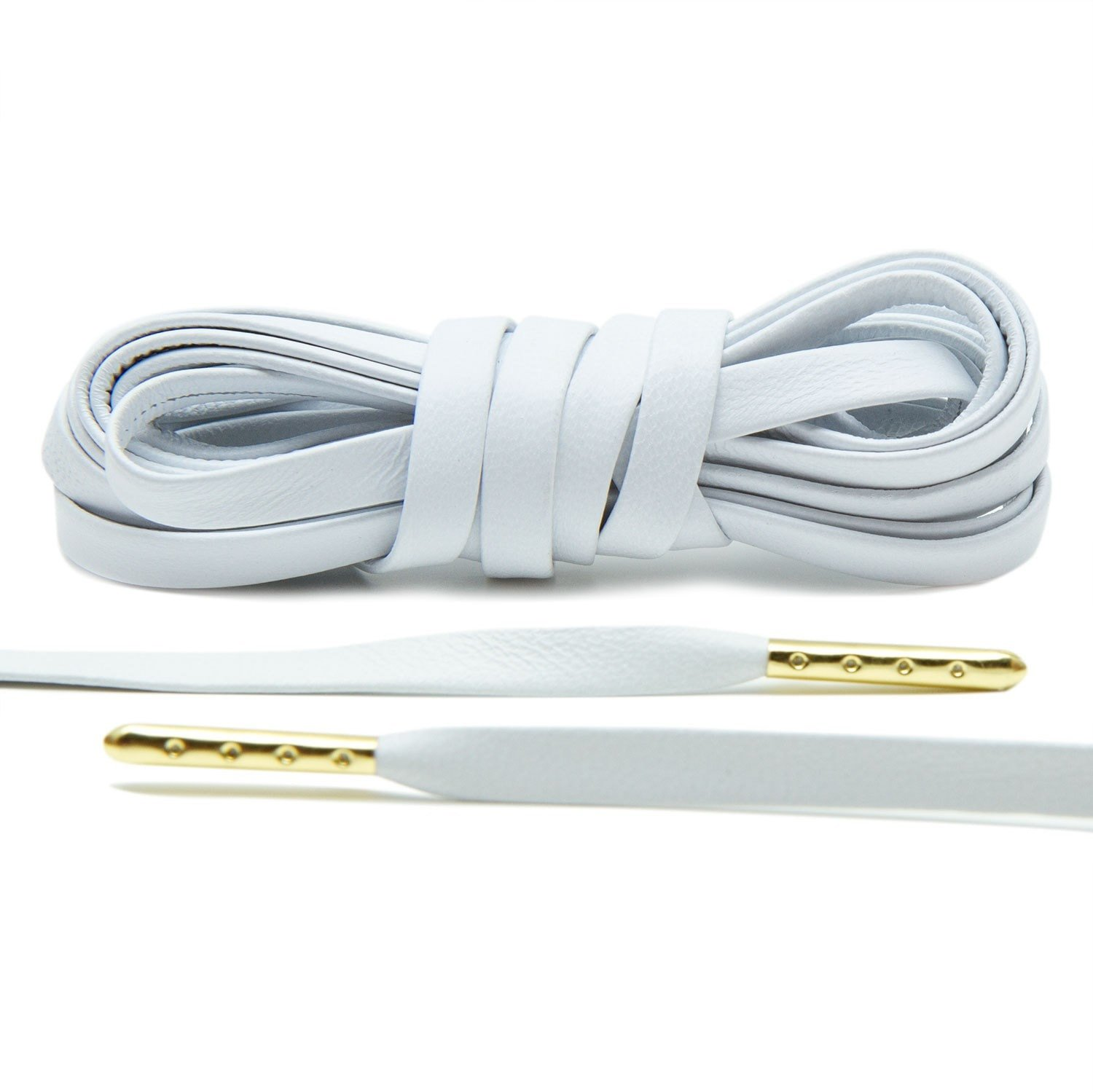 White – Leather Luxury Laces With Gold Tips